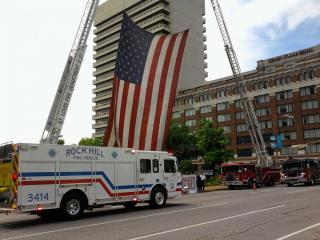 Fire Truck under the American Flag
